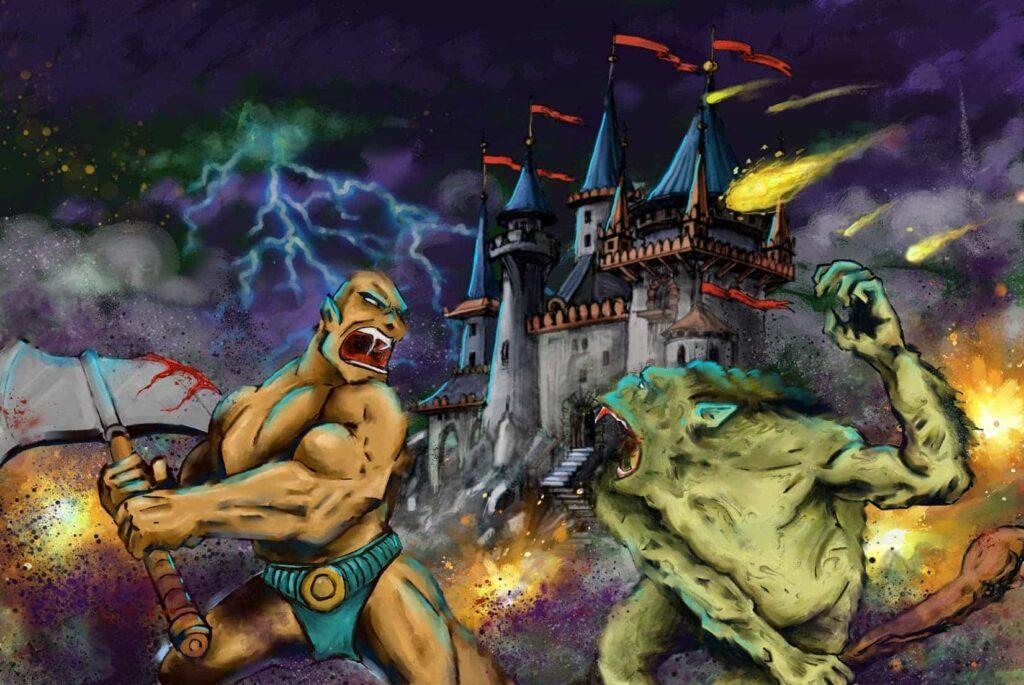 troll vs warrior in digital painting