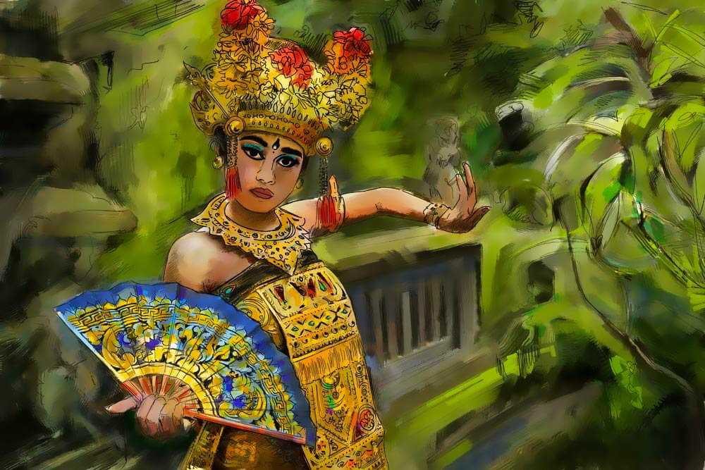 danseuse legong en peinture digitale
