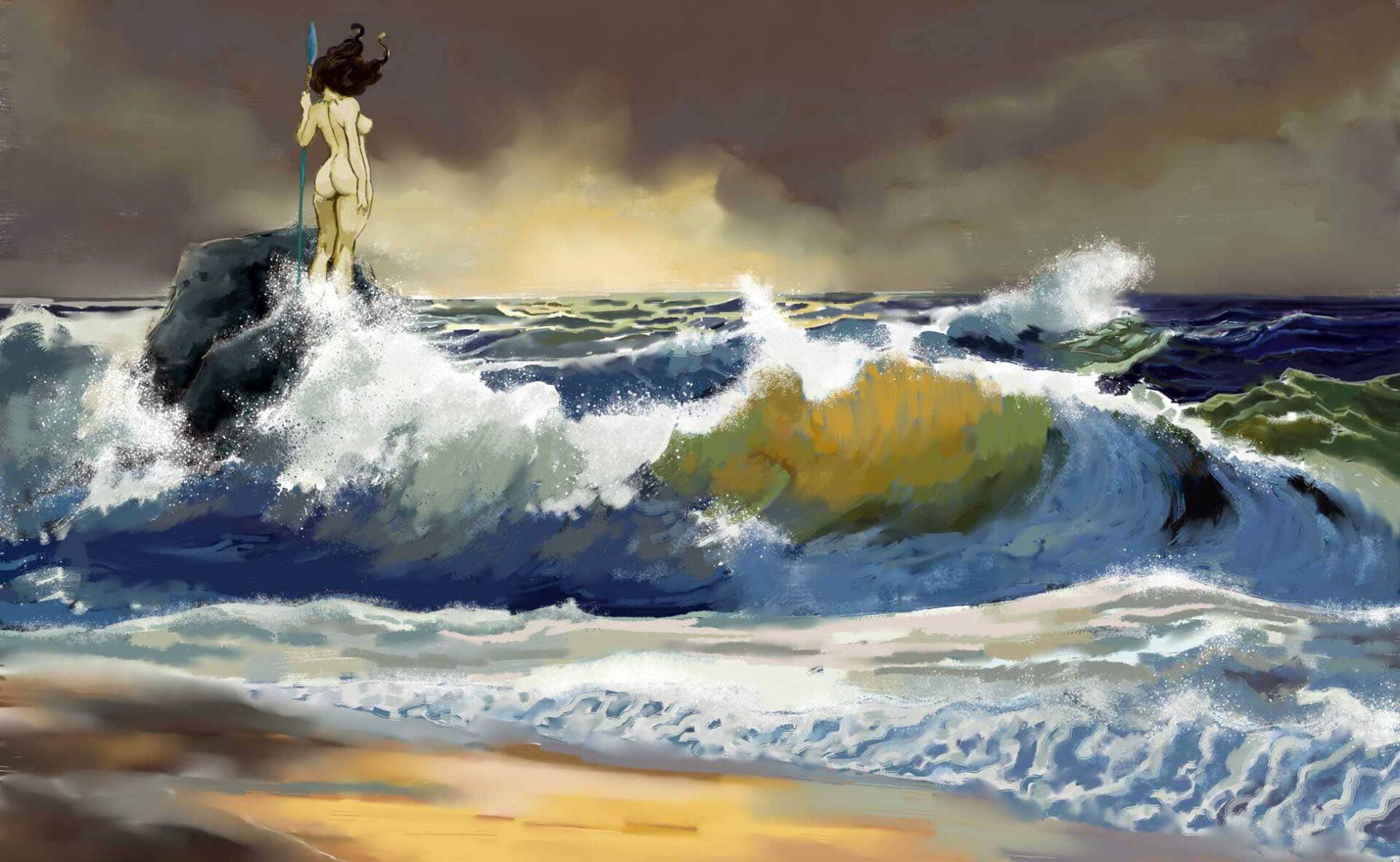 Digital painting océan vagues