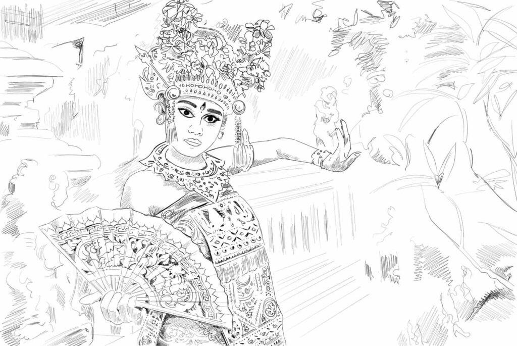 dessin danseuse legong Bali