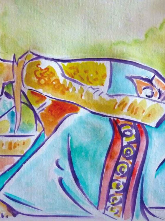 danseuse legong aquarelle bali